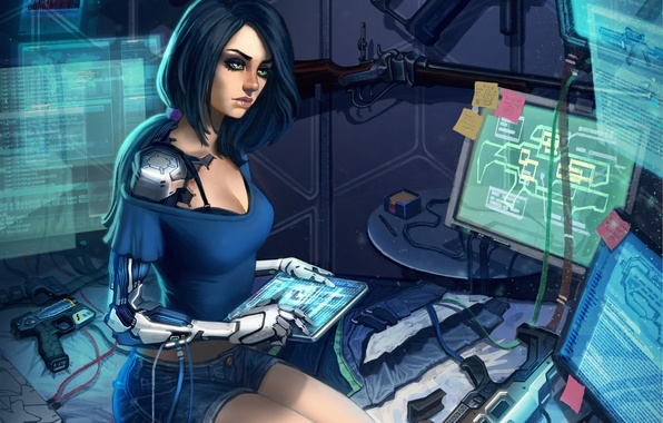 Картинка взгляд, девушка, фантастика, технологии, арт, киборг, sci-fi, мониторы