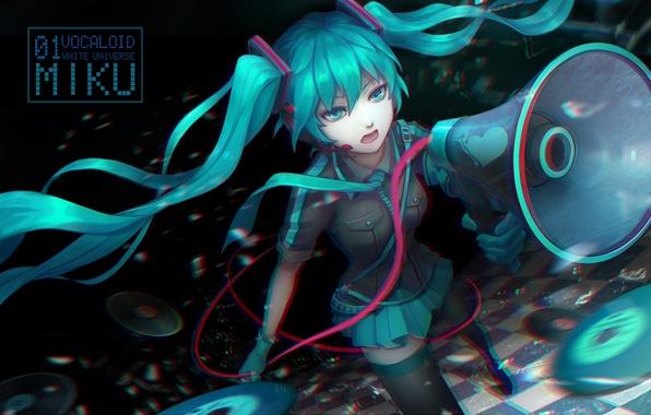 Картинка девушка, аниме, наушники, арт, микрофон, vocaloid, hatsune miku, громкоговоритель, koi wa sensou