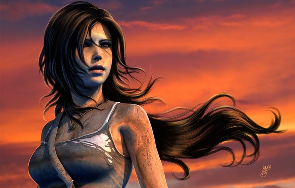 Картинка небо, взгляд, закат, лицо, волосы, игра, майка, грязь, арт, Tomb Raider, Lara Croft