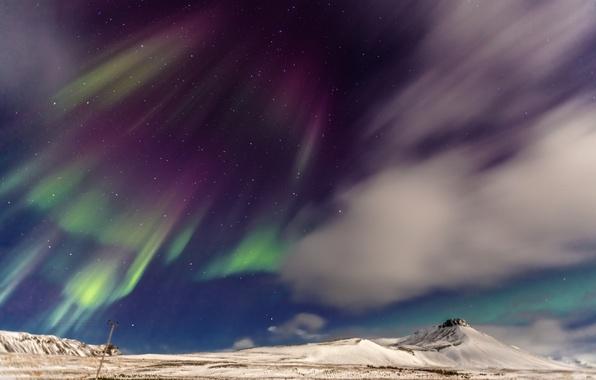 Картинка небо, звезды, облака, горы, северное сияние, Норвегия, панорама