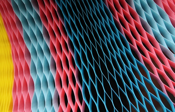 Картинка жёлтый, розовый, голубой, цвет, ячейки