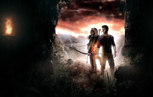 Картинка xbox, lara croft, tomb raider, sony, square enix, crossover, Uncharted, Naughty Dog, Uncharted 4: A …