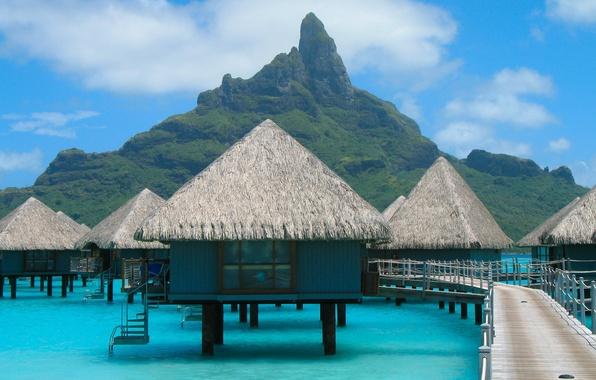 Картинка море, пейзаж, природа, океан, обои, гора, wallpaper, курорт