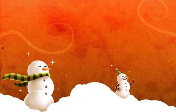 Картинка новый год, снеговики