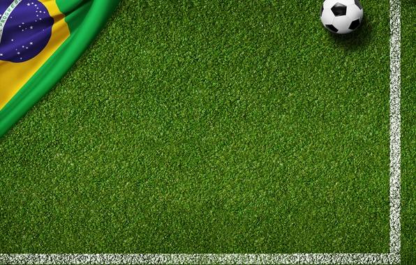 Картинка трава, газон, green, мяч, football, flag, футбольное поле, World Cup, Brasil, FIFA, 2014, флаг бразилии
