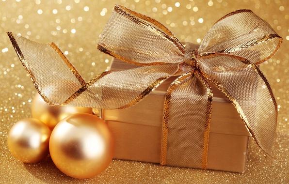 Картинка шарики, золото, праздник, коробка, подарок, шары, новый год, рождество, блестки, christmas, new year, бант, золотые, …