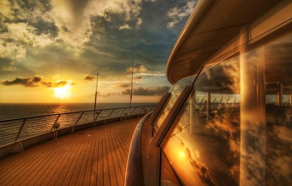 Картинка море, небо, вода, солнце, облака, макро, закат, река, фон, океан, widescreen, обои, настроения, лодка, корабль, …