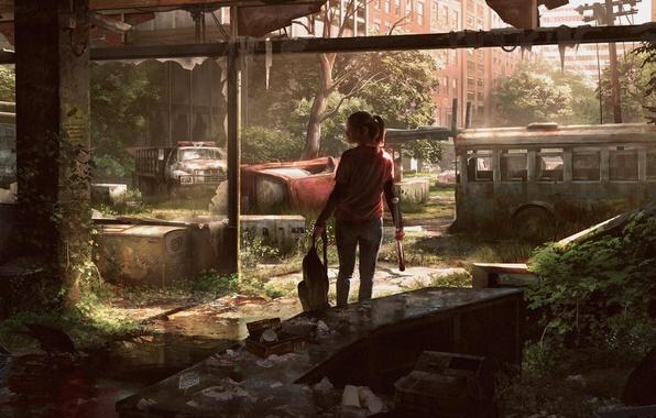 Картинка машина, город, арт, девочка, автобус, элли, The Last of Us
