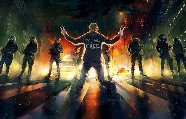 Картинка дорога, свобода, свет, город, огни, темнота, оружие, люди, одежда, фары, светофор, фонарь, переход, Drawings, руки., ...