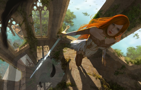 Картинка взгляд, девушка, природа, оружие, фантастика, окна, башня, меч, арт, лестница, рыжая