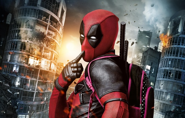 Картинка City, Light, Action, Ryan Reynolds, Red, Sky, Black, Sun, Warrior, White, Guns, Deadpool, Eyes, Ninja, …