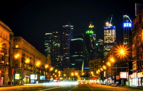Картинка ночь, движение, Москва, light, Россия, Russia, night, Moscow, Москва-сити