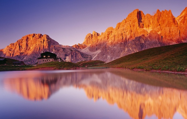 Картинка горы, озеро, дом