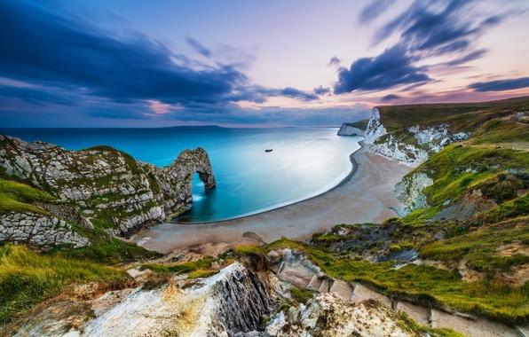 Картинка пляж, небо, Англия, выдержка, Юрское побережье, Дердл-Дор, скалистые ворота