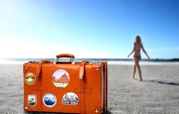 Картинка чемодан, путешествие, ПЛЯЖ, ДЕВУШКА, ГОРИЗОНТ, ПЕСОК, ЦВЕТ, КУРОРТ, ОРАНЖЕВЫЙ