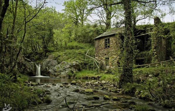 Картинка лес, деревья, природа, дом, река, камни, водопад, Испания, Spain, Arbon