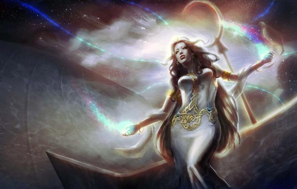 Картинка девушка, космос, магия, арт, IMMAR
