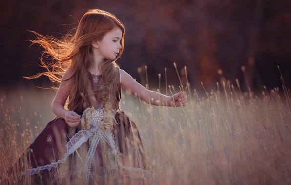 Картинка поле, осень, девочка, рыжеволосая