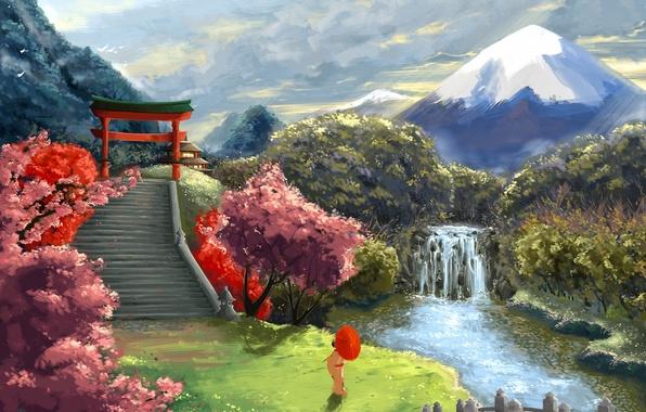 Картинка пейзаж, река, азия, гора, водопад, зонт, сакура, арт, гейша, лестница, врата