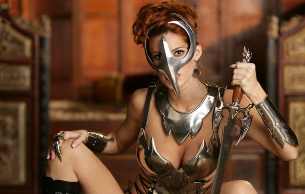 Картинка девушка, воин, маска, латы