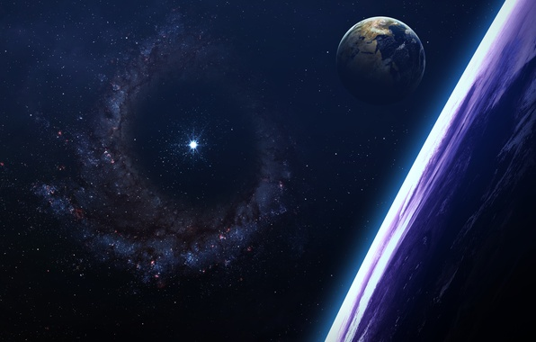Картинка art, beautiful, stars, planet, galaxy