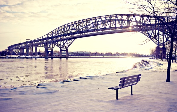 Картинка зима, снег, скамейка, мост, река, лавочка