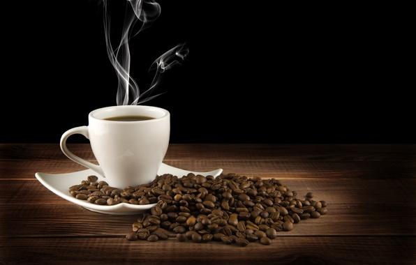 Картинка стол, кофе, горячий, зерна, пар, чашка, напиток, черный фон, блюдце