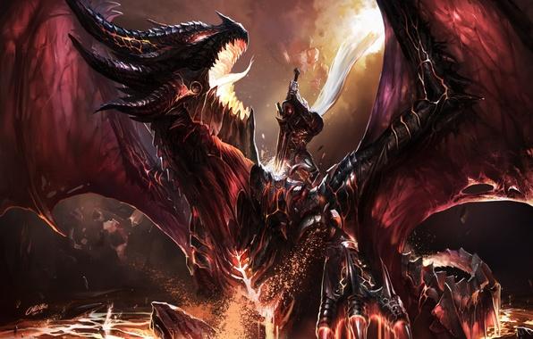 Картинка огонь, дракон, эльф, меч, воин, WOW, схватка, World of warcraft, art, dragon, battle, фанарт, fanart, …