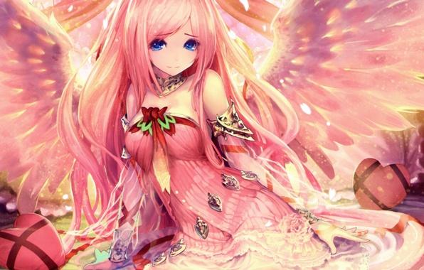 Картинка девушка, ленты, крылья, аниме, арт, tachikawa mushimaro, bimo, shingeki no bahamut