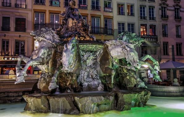 Картинка ночь, огни, Франция, фонтан, скульптура, Лион