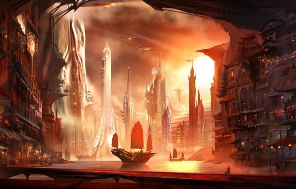 Картинка город, люди, корабль, дома, парусник, бухта, арт, башни, Alex Ruiz