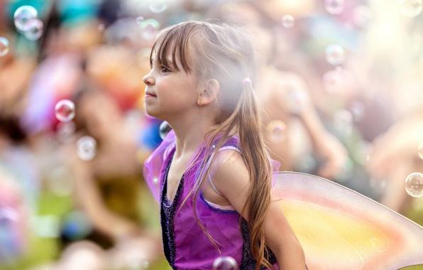 Картинка пузыри, фон, настроение, девочка