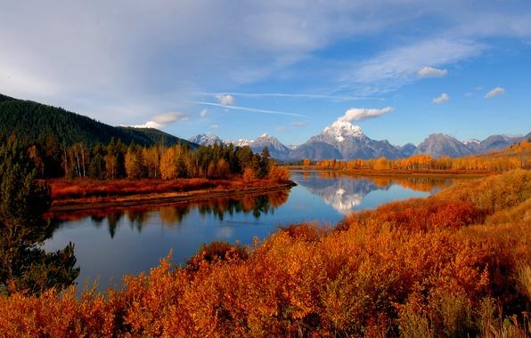Картинка осень, лес, небо, река, гора