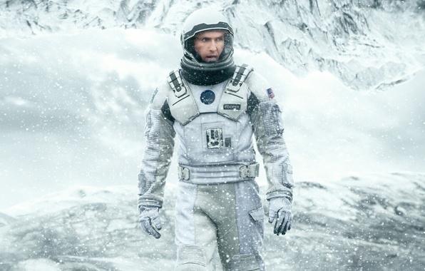 Картинка Cooper, cinema, ice, NASA, mountains, snow, man, movie, flag, film, cold, helmet, 2014, astronaut, uniform, …
