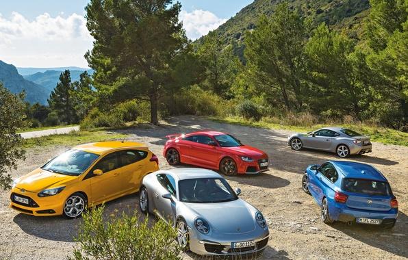 Картинка Porsche 911, Toyota GT 86, Audi TT, Ford Focus ST, BMW M 135i