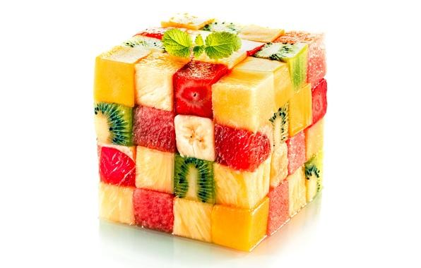 Картинка кубики, кусочки, куб, фрукты, design, fruits, cube