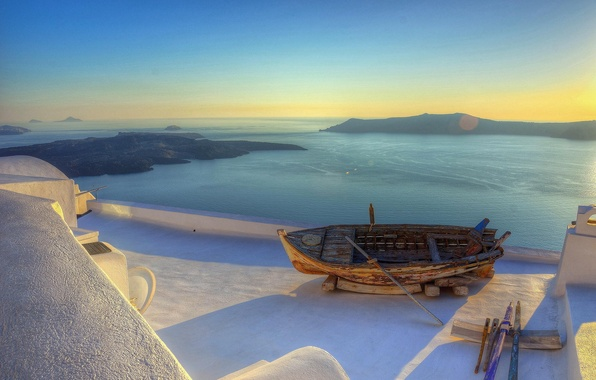 Картинка море, лодка, Греция, курорт