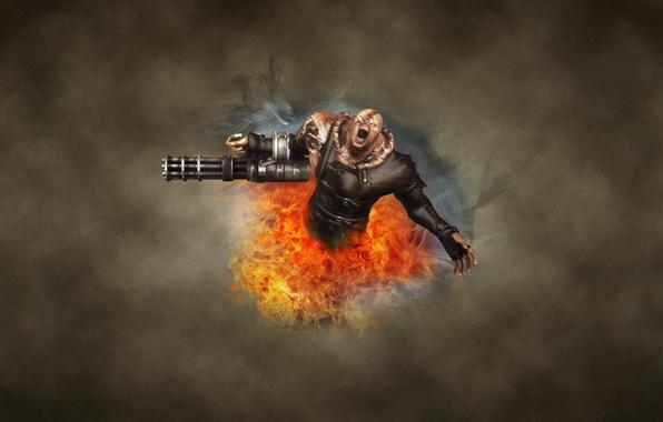 Картинка темный фон, огонь, монстр, зомби, Resident Evil, обитель зла, Nemesis, Немезиc, немезида