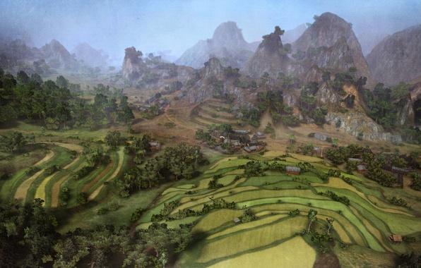 Картинка зелень, лето, пейзаж, природа, игры, графика, поля, Горы, арт, панорама, game, sky, landscape, nature, mountains, …