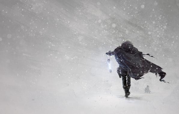 Картинка зима, снег, оружие, арт, герой, фонарик, плащ, вьюга, метель, art, пурга