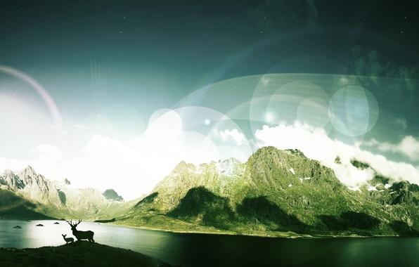 Картинка река, корабль, планета, долина