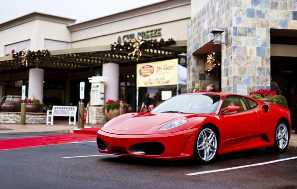 Картинка город, F430, Ferrari, Red, феррари, красная