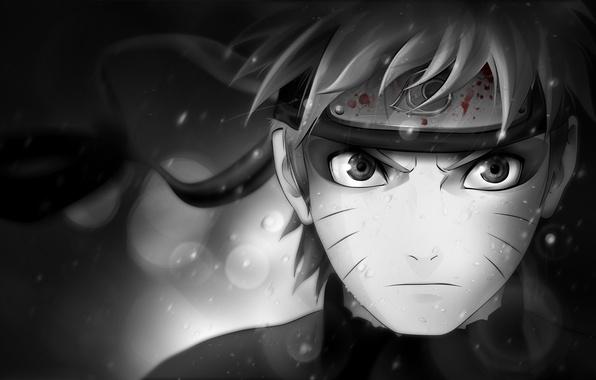 Картинка взгляд, характер, кровь, чёрно-белая, символ, повязка, Наруто, Naruto