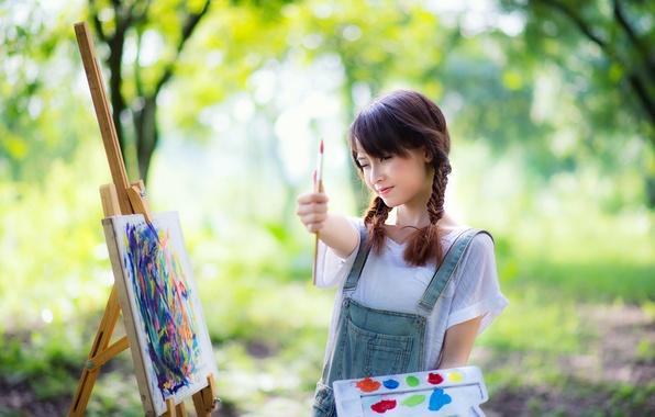 Картинка девушка, настроение, краски, азиатка