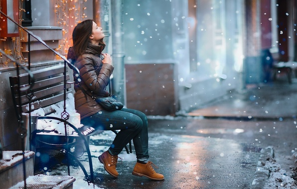 Картинка снег, скамейка, Девушка, girl, snow, bench