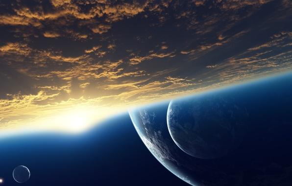 Картинка космос, облака, рассвет, звезда, планеты, атмосфера