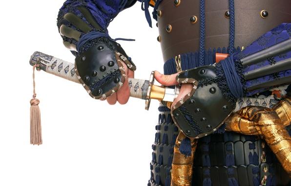 Картинка путь, меч, катана, доспехи, воин, самурай, снаряжение, амуниция, white background, воина, wallpaper., бусидо, samurai in …