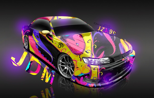 Wallpaper Tony Kokhan, Airbrushing, Mark2, JZX90, Mark2, Violet,  Aerography, · Toyota