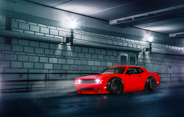 Картинка Dodge, Challenger, Red, Car, Body, Front, Street, SRT, Stance, Wide