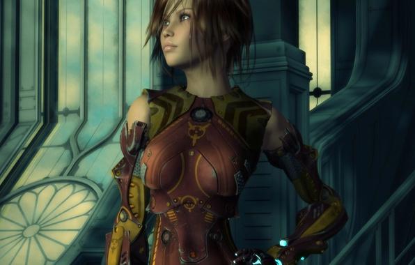 Картинка взгляд, девушка, лицо, поза, рендеринг, фантастика, волосы, железная, броня